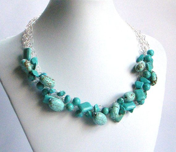 Turquoise Necklace  Wire Crochet Necklace  by BuddingCreations1, $38.00