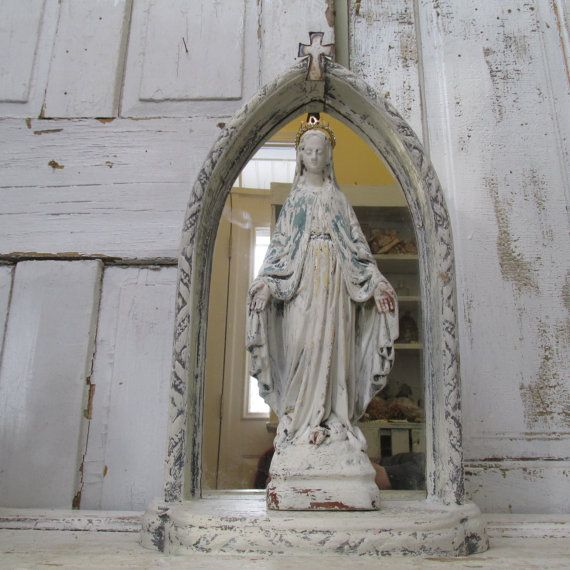 Virgin Mary statue with shrine Distressed by AnitaSperoDesign