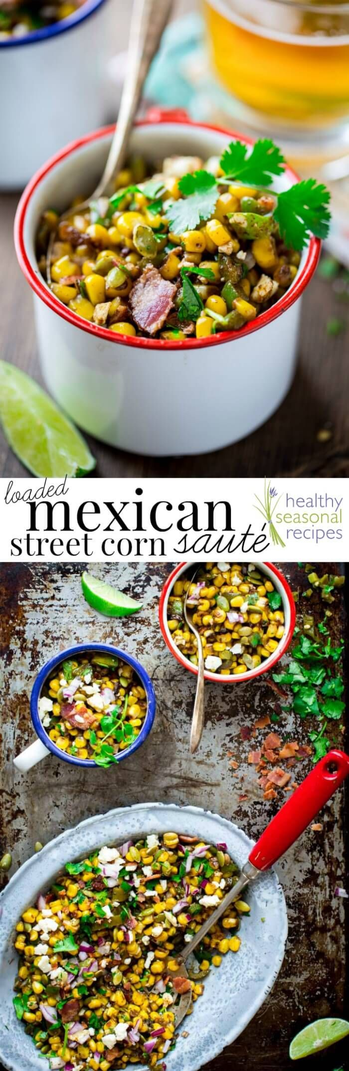 This Loaded Mexican Street Corn Sauté is an easy skillet variation of Mexican street corn made with frozen corn and topped with flavorful additions like pepitas, Cotija cheese, bacon, pickled jalapenos and cilantro. @healthyseasonal