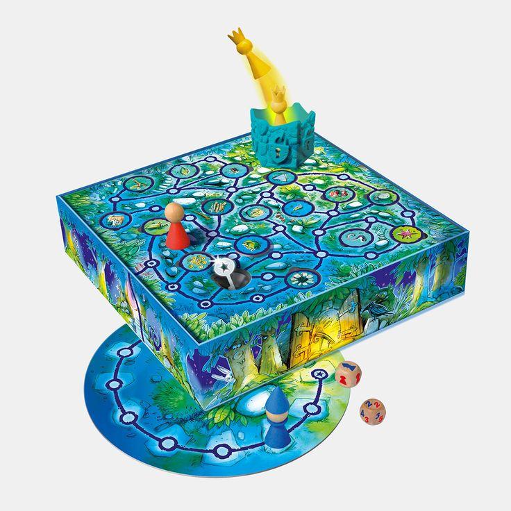 """Kinder-Brettspiel mit magnetischen Spielfiguren, einem """"Zauberturm"""" und Metallschlüssel, für 2-4 Spieler ab fünf Jahren Der böse Zauberer hat die Prinzessin in einen verzauberten Turm gesperrt und den Schlüssel versteckt. Der tapfere Robin zieht aus, um sie zu befreien. Sowohl der Spieler, der den Zauberer spielt und das Schlüsselversteck kennt, als auch die anderen Mitspieler, die zusammen die Figur des Robin bewegen, versuchen als erster am Schlüsselversteck zu sein. Da Robin d..."""