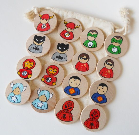 Memory Game Super Heroes Waldorf toy Game by 2HeartsDesire on Etsy 2Heartsdesire,  Made By Us. Please Share