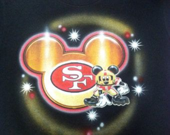 Mickey Mouse 49ers | Custom Airbrushed Mickey Mouse Foot ball San Francisco 49ers Shirt ...
