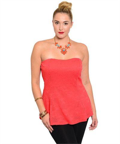 PLUS SIZE Orange coral long bustier – Fashion Pop