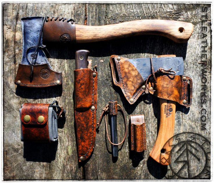 My bushcraft kit from STLeatherworks.com. Bushlore knife, Gränsfors Kubben mini axe, Husqvarna hatchet, fire steel and a foldable foraging belt bag.
