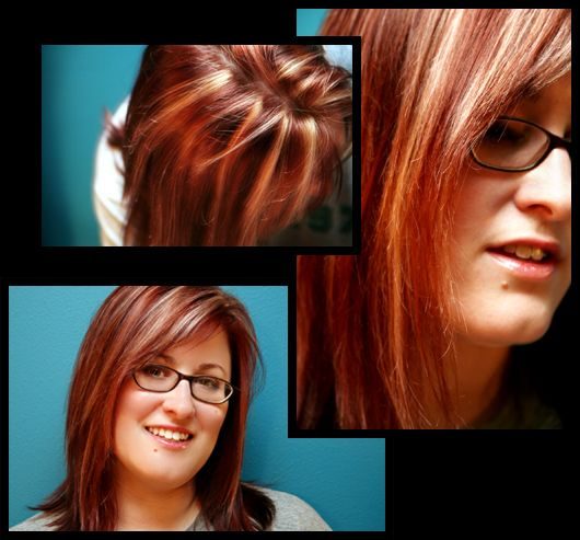 Brownish Red Hair Color With Blonde Highlights