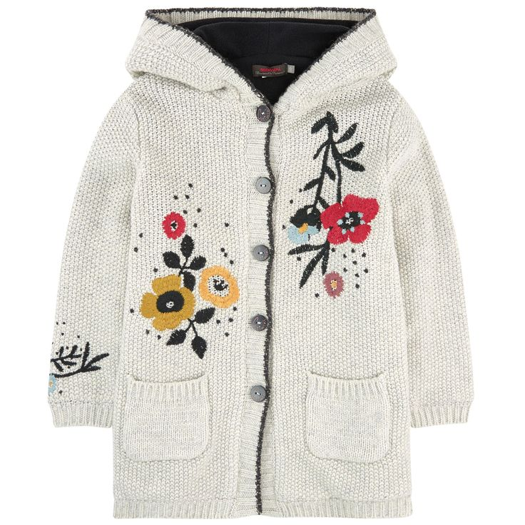 Viscose and wool knit Fleece lining Lurex details A perfect mid-season item Straight fit Large hood Long sleeves Tightened cuffs and waistband Front pockets Buttons on the front Logo buttons Embroideries - 117.73 €