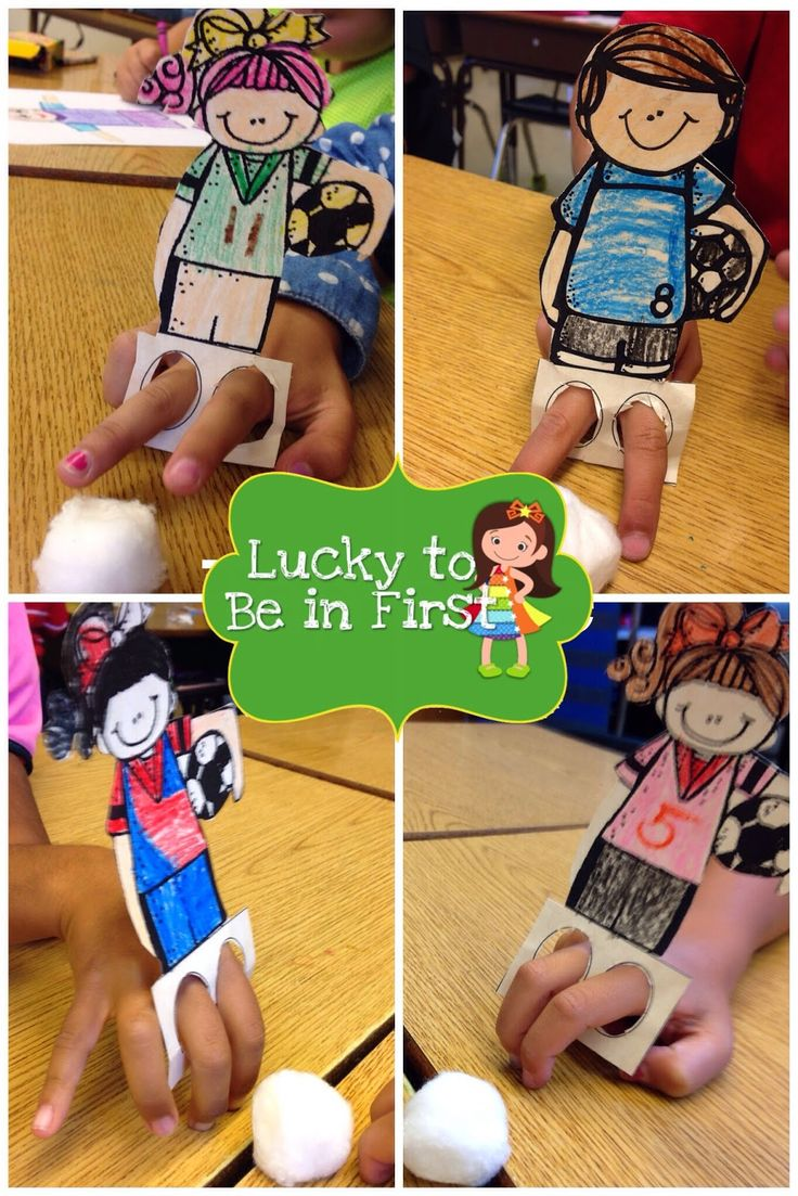 """(Free template) Soccer finger puppets - make sure to print on cardstock so they """"stay up""""."""