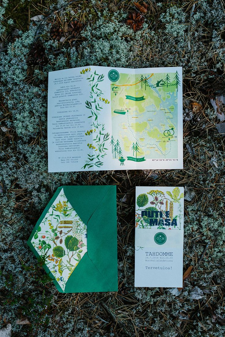 Beautiful graphically designed Green Wedding Stationery - Image by Therese Winberg Photography - A forest green wedding colour scheme at an intimate outdoor coastal ceremony in Finland with DIY wedding dress, flowers and stationery
