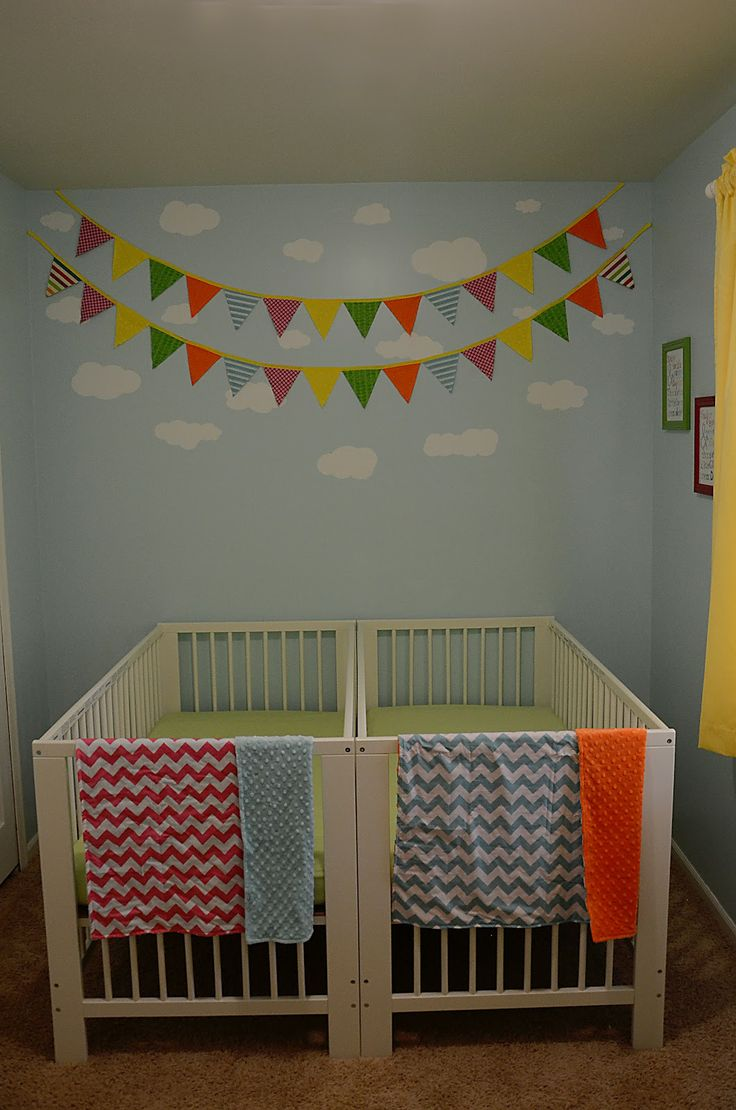 24 best cribs for twins images on pinterest baby cribs for Nursery room ideas for small rooms