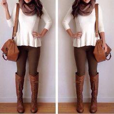 OUTFIT DEL DÍA: Brown jeans outfit, Look con pantalones café claro...
