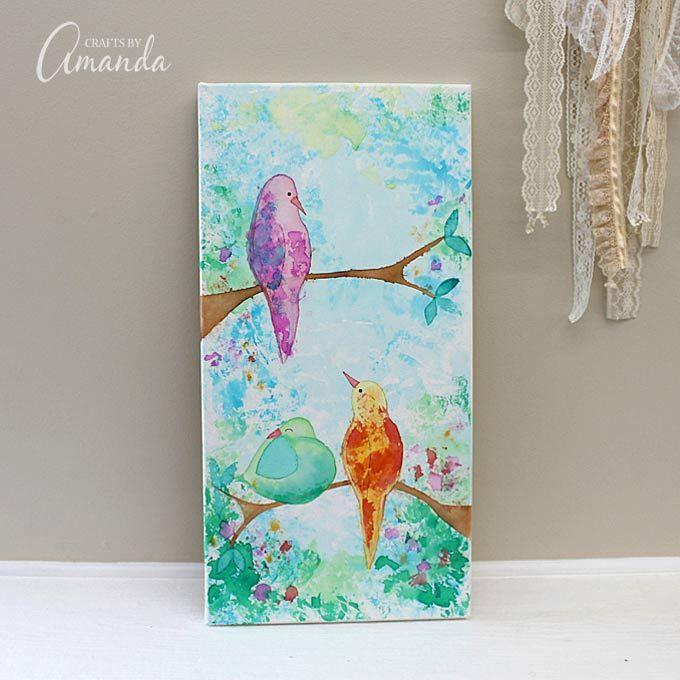 Bloeden Tissue papieren vogels op Canvas - dat klopt, is er geen verf gebruikt om dit stuk van de kunst aan de muur te maken!  Gebruik bloeden zijdepapier en water om mooie ontwerpen te maken, zoals deze vogels op een tak doek kunst aan de muur.