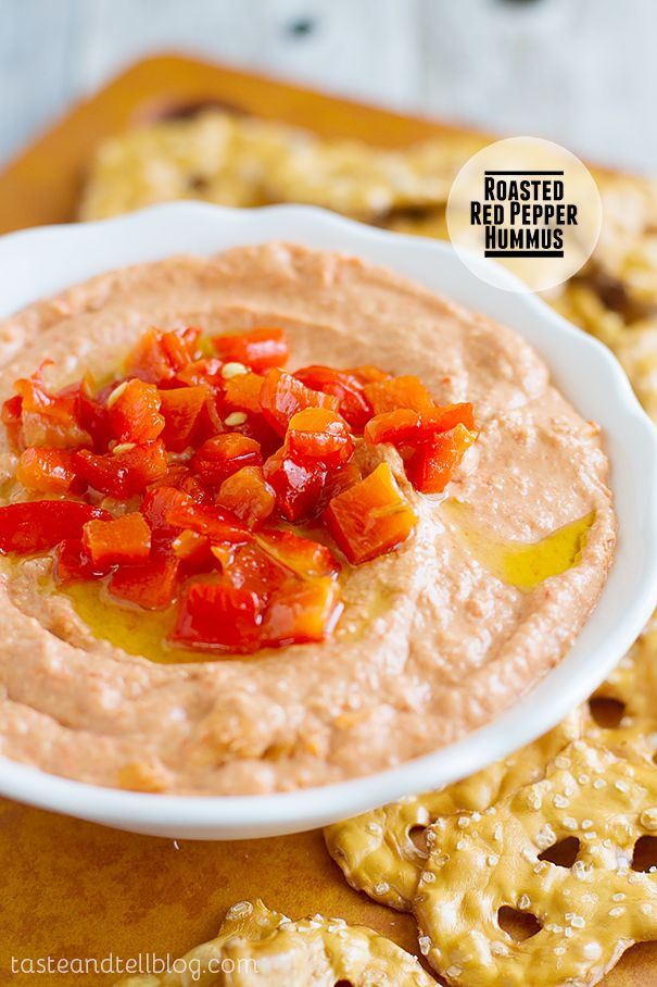 Hummus is great for our plant based protein week, and this roasted red pepper hummus is what I want to make next! Roasted Red Pepper Hummus on Taste and Tell  #plantbasedprotein #hummus