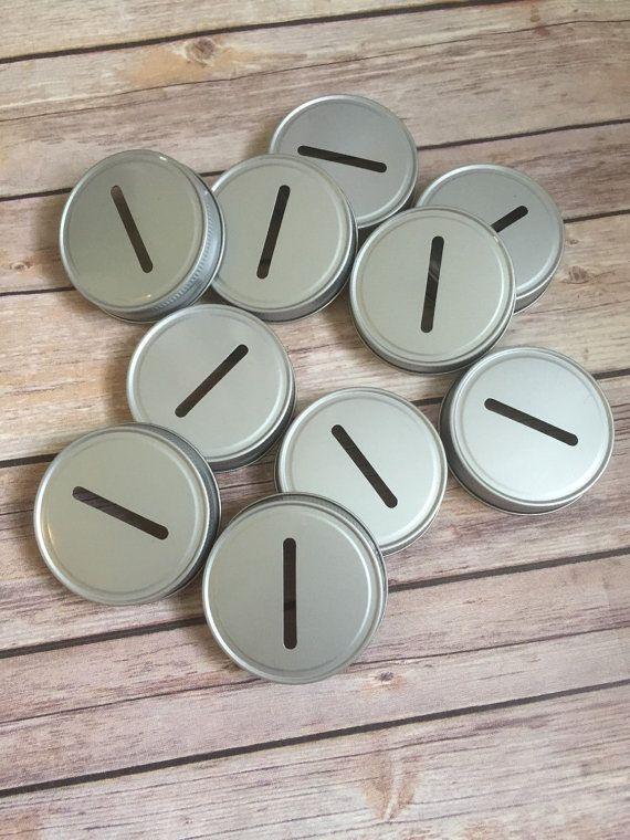 Mason Jar Coin Slot Lids Mason Jar Piggy Bank by BitsNPiecesBySK