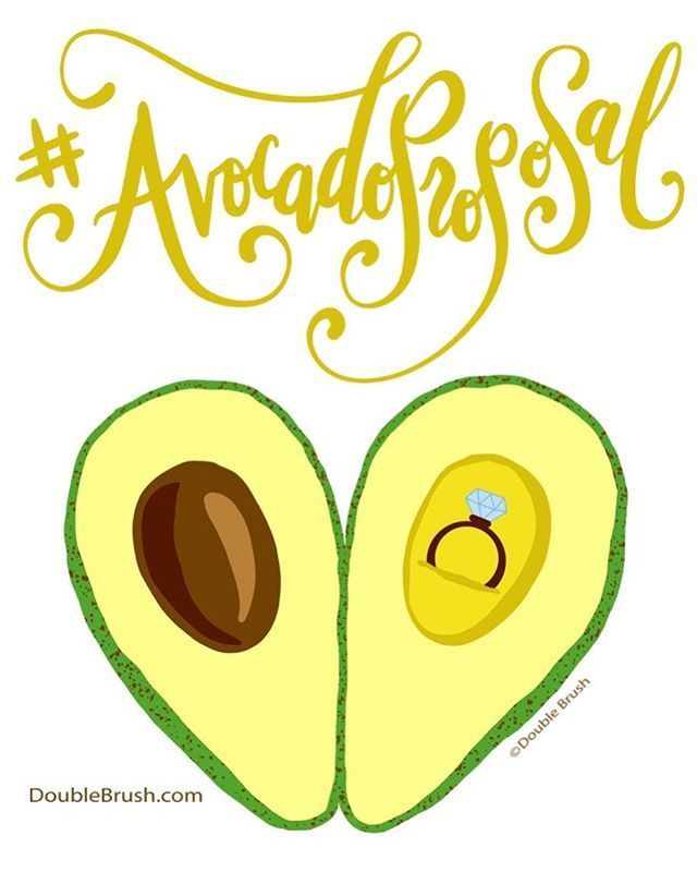 Saw this trending hashtag #avocadoproposal & thought it would be fun to draw a design for it. I hand lettered & drew the avocado open to look like a heart. Find it on t-shirts, stickers, mugs & other cool stuff at redbubble.com/people/doublebrush 🥑 . .