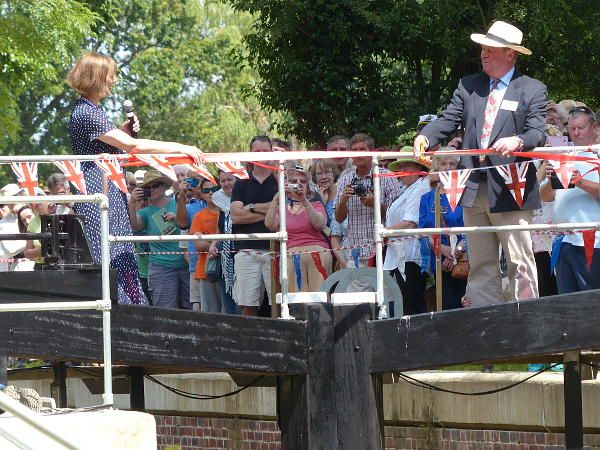 Southland Lock Opening 21st June 2014. Simon Carter cuts the tape across the lower gates.