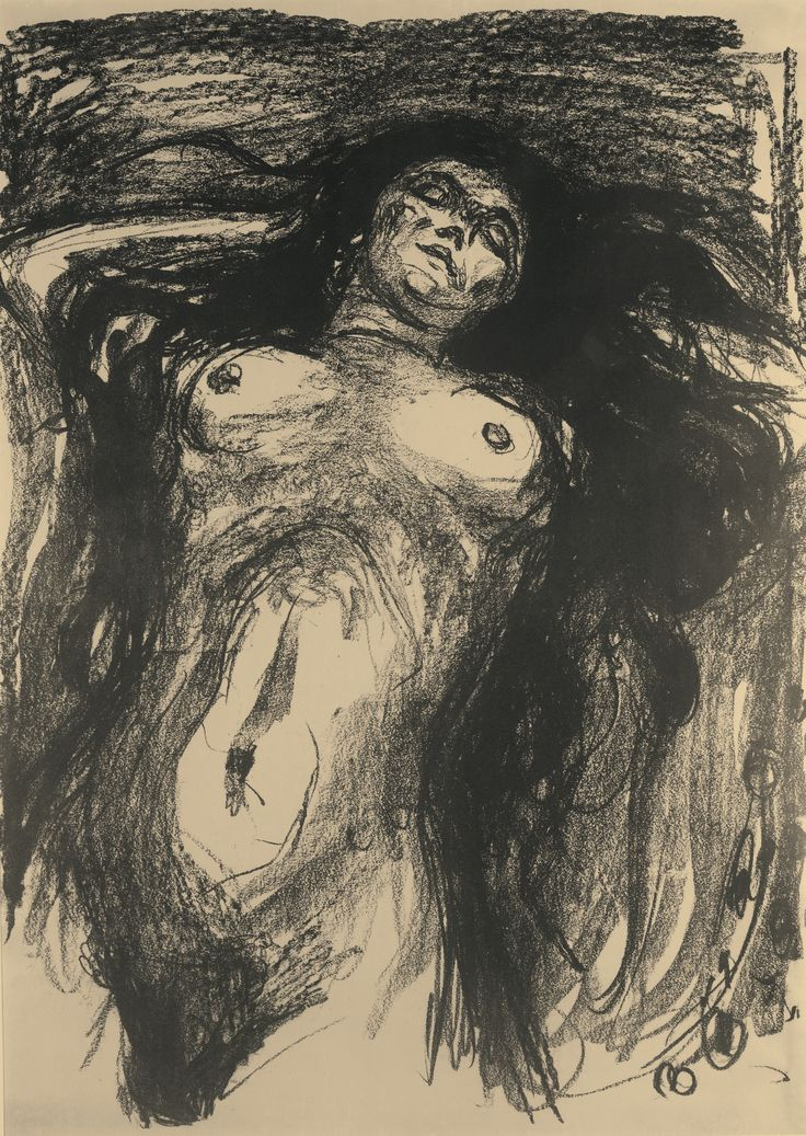 Edvard Munch 1863 - 1944 WOMAN WITH LONG HAIR, RECLINING davidcharlesfoxexpressionism.com #edvardmunch #expressionism
