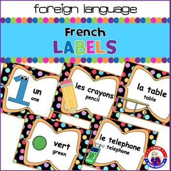 Full-color English-French Classroom Labels with a bright polka-dotted theme... perfect for any classroom or home! Each label has the French word, the English word, and a coordinating picture. Included: 13 color labels 71 subject and object labels Months of the year