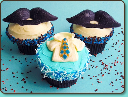 """Mustache Cupcakes  Mustache Cupcakes?! That's right real wax mustaches are so fun and perfect for Mustache Parties (yes, mustache parties), Father's Day, Dad's birthday, an office party or even for a """"Little Man"""" themed birthday party. Pair these with shirt and tie cupcakes and everyone will be smiling like Tom Selleck!"""