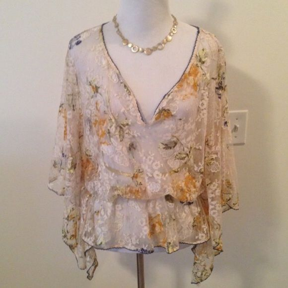 Free People Sheer Lace Batwing Top Absolutely gorgeous top from Free People. Pics don't do this one justice. Sheer and lacy, in soft neutral tones of cream and gold, with batwing sleeves and an elastic waistband. Size medium. NWOT. ❌ NO TRADES ❌NO LOWBALLING ❌ Free People Tops