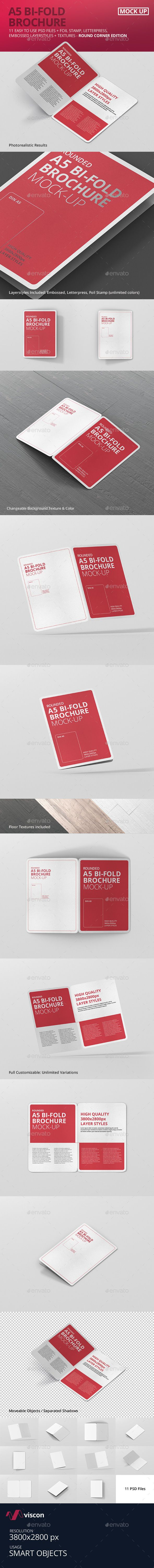 A5 Bi-Fold Brochure Mock-Up - Round Corner. Download here: graphicriver.net/...