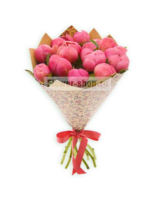 Букет из коралловых пионов с доставкой по Москве / Flower-shop.ru - служба доставки цветов