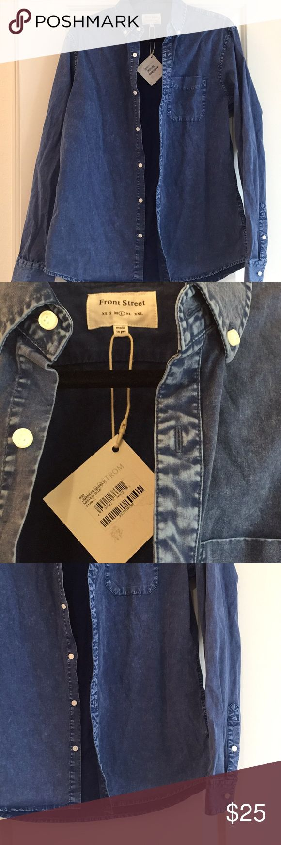 FRONT STREET•Denim long sleeve shirt Button down.  Size L Denim looking shirt NWT Nordstrom tag on it Shirts Casual Button Down Shirts
