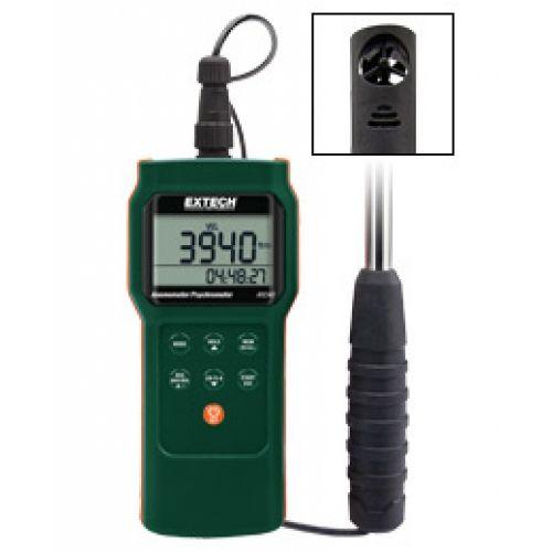 """http://handinstrument.se/luftflodesmatare-r615/mini-anemometer-psykrometer-logger-53-AN340-r34510  Mini Anemometer/Psykrometer /Logger  Teleskop 0,7 """"(18mm) vingdiameter sensor sträcker sig från 1 ft (0,3 m) upp till 3.3ft (1m)  Mäter Luftflödeshastighet, luftflöde, lufttemperatur, luftfuktighet, daggpunkt och våt temperatur  Lagra manuellt / minns upp till 99 mätvärden  Automatiskt Datalog upp till 12000 mätvärden (2000 avläsningar för varje parameter) med 12/24 timmars..."""