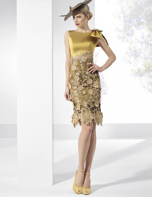 Vestidos de fiesta cortos en tafeta dorado con falda de tul bordado en oro.