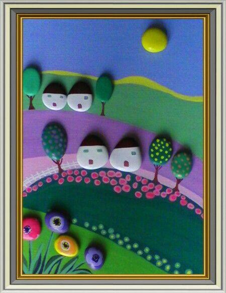 Paesaggio Naif -Campo di lavanda- Painted Stones di Rosaria Gagliardi