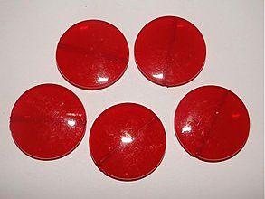 Korálky - Placka MILK plast 30mm-červ-1ks - 1044194