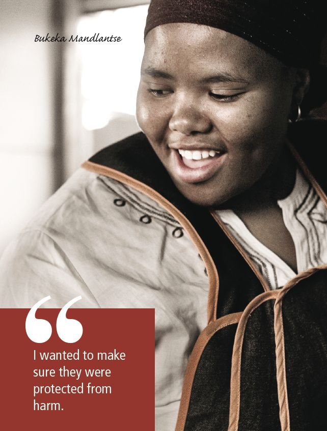 http://cecd.org.za/index.php/publications/teaching-treasures/bukeka-mandlantse. Working with young children is hard work. Every day in South Africa, nearly 60,000 adults, mainly women, work with 1.1 million children in Early Childhood Development centres. 'Teaching Treasures', published by the Centre for Early Childhood Development (www.cecd.org.za) showcases the heroes of our country.