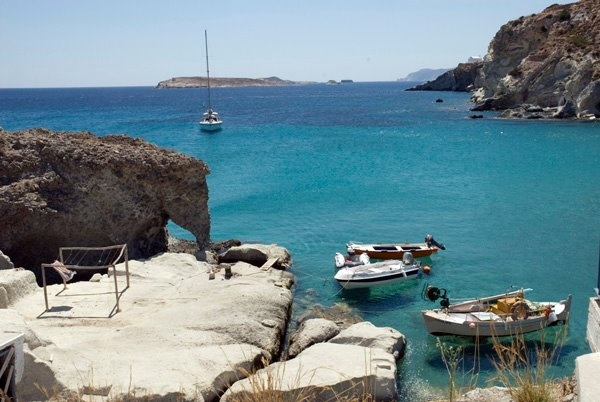 Crystal clear turquoise waters surround Kimolos island, Cyclades islands