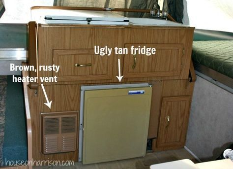 Pop Up Camper Remodel: We'll be painting the cabinets, vent and covering the fridge.
