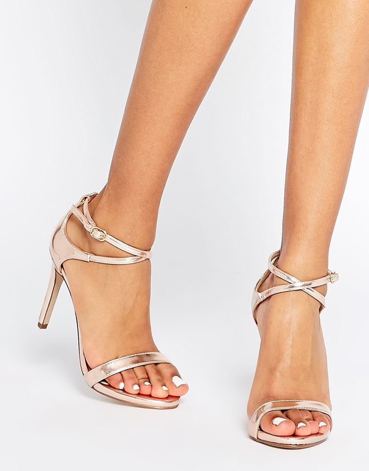 Image 1 ofCall It Spring Staval Rose Gold Heeled Strap Sandals