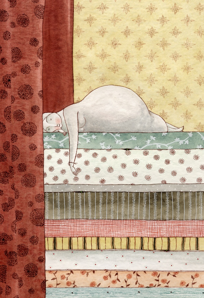 La Princesa y el guisante. Ilustración de elena Odriozola