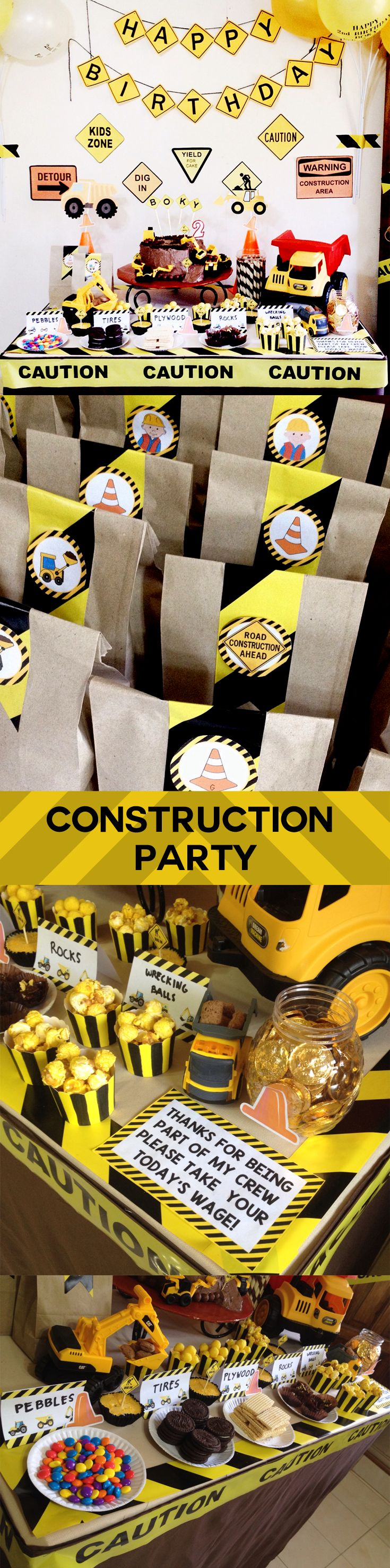 DIY CONSTRUCTION PARTY : Dump Truck, lootbags, favor bags, caution tape, safety cone