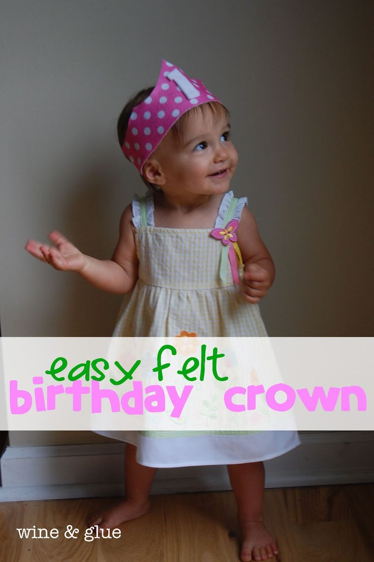Easy Felt Birthday Crown -- can do this easily without a sewing machine; just need a pretty felt sheet and elastic