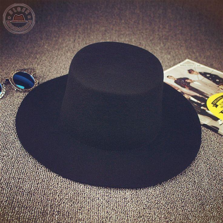 BIGBANG GD black fedora hats for men Pure Wool Large brim Winter red fedora hat [HUB023]