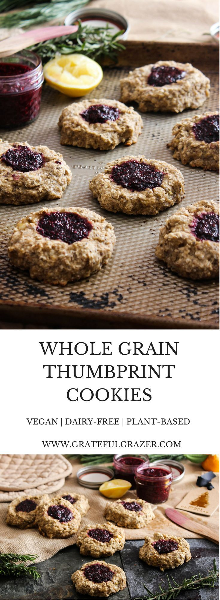 These delicious whole grain thumbprint cookies are healthy enough for breakfast + sweet enough for dessert. Healthy holiday cookie recipe! via @gratefulgrazer