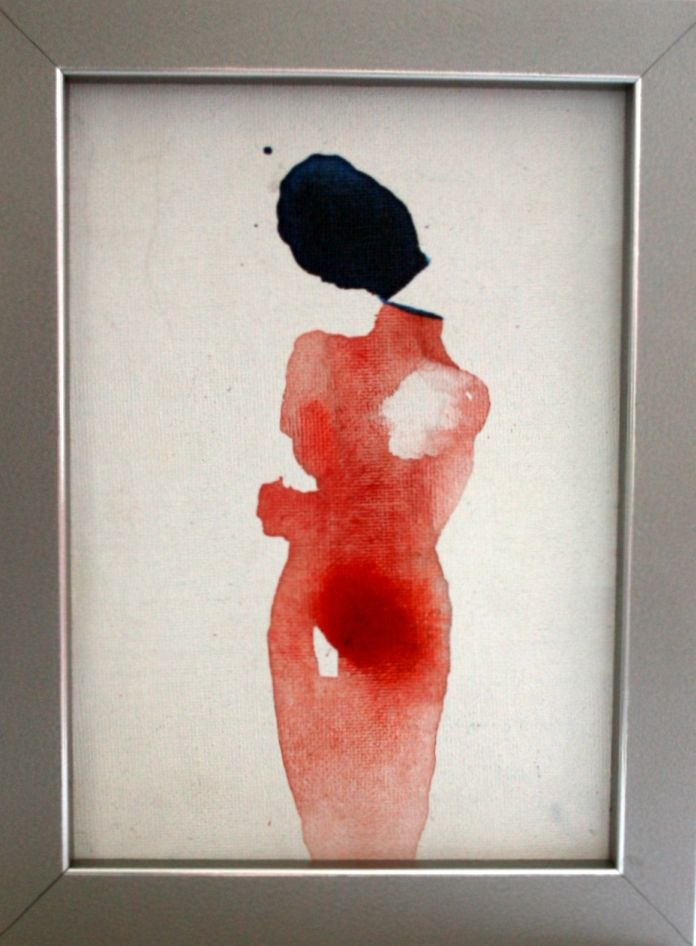 "Monika Smyła,""She"", watercolor on canvas, polish art"
