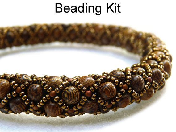 Beading Kit, Pattern, Tutorial, Beaded Netted Stitch Bracelet in Wood, Wooden Jewelry, Bead Kit, Simple Bead Patterns #2467