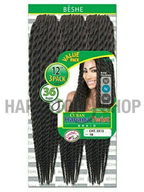 Beshe Cuban HAVANA TWIST Crochet Braid 3pc (CHT3X12) Beshe+Cuban+Crochet+Braid+-+HAVANA+TWIST+3pc+(CHT3X12)