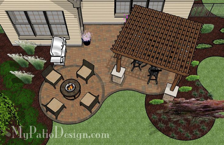 Beautiful Curvy Patio with Pergola - Patio Designs & Ideas
