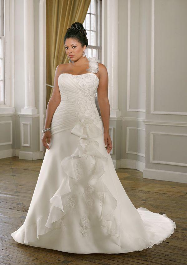 große Größe Abnehmbare Eine-Schulter Spitze Satin Organza Brautkleider#Brautkleider #wedding dresses schoenebraut.com - schoenebraut.com