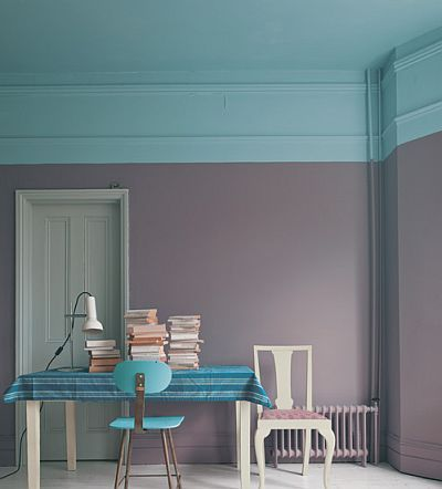 Ceiling and Chair: Stone Blue   Wall: Brassica   Far Door: Manor House Gray  Chair and Table: Cornforth White