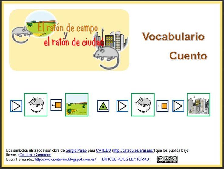"""MATERIALES - Cuento adaptado """"El ratón de campo y el ratón de ciudad"""" con actividades para trabajar distintos contenidos. http://arasaac.org/materiales.php?id_material=1134"""