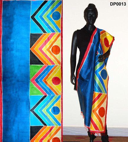 Hand-painted Ocean blue color silk dupatta – Panache Haute Couture