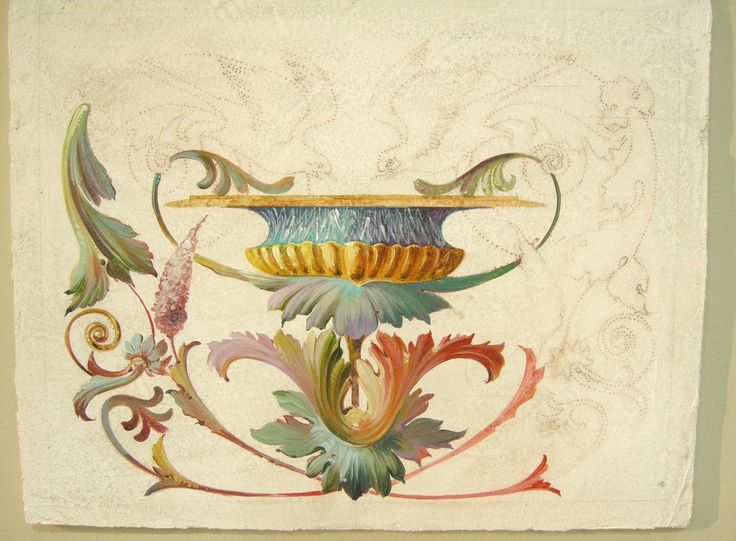 demo of grotesque ornament painted secco-fresco, by artelier (italy)