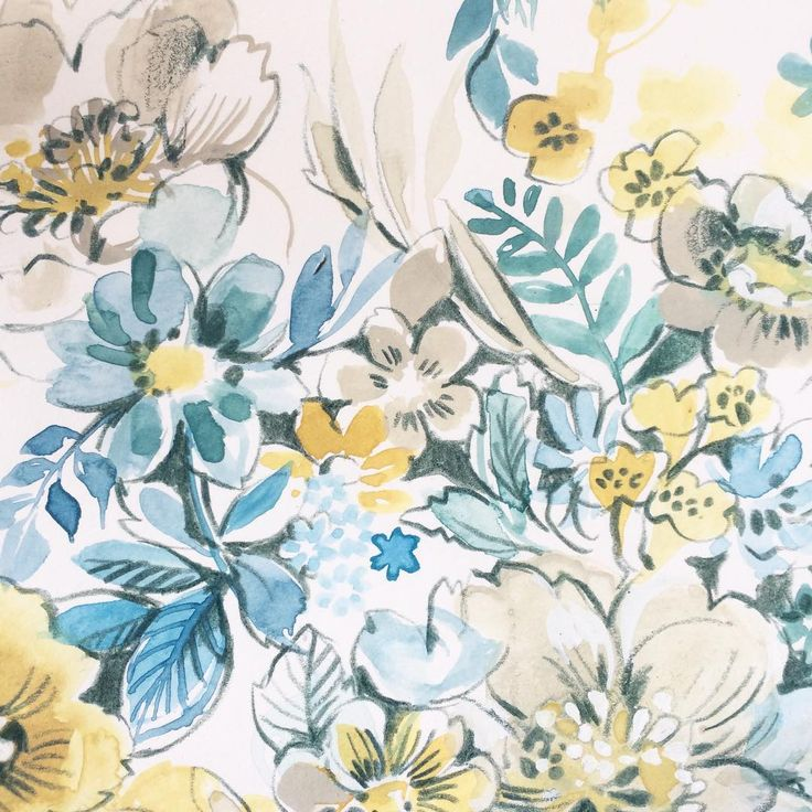 Yellow and blue watercolor flowers #art #watercolor #flowers #floral #painting #drawing