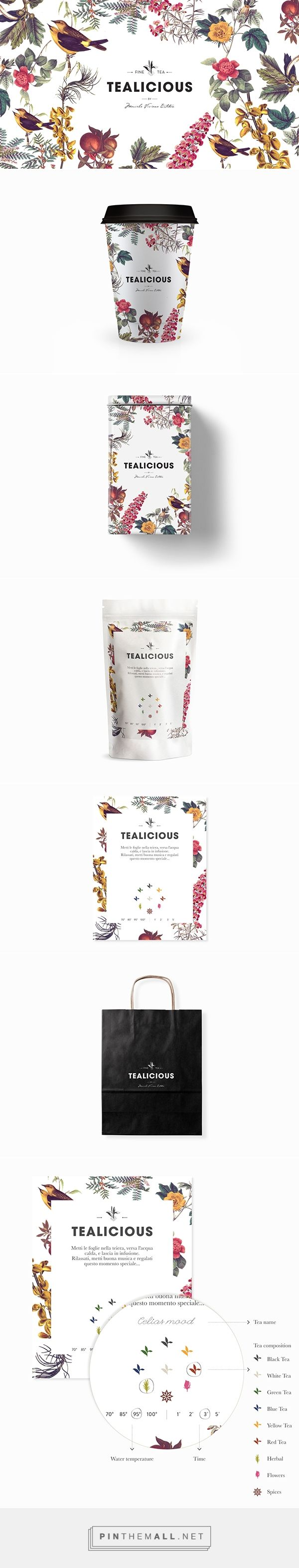 Decorative illustrations & simple bold & script type | Tealicious, Florence, Italy. Designed by Juana Alvarez.